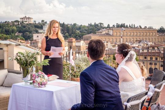 Joyful Hotel Rooftop Wedding in Florence