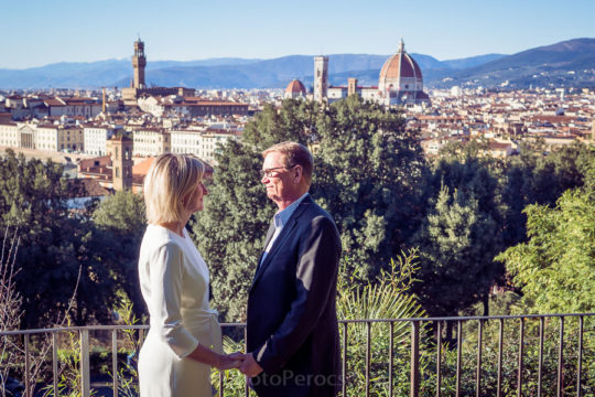 Intimate Vow Renewal in a Hidden Garden of Florence